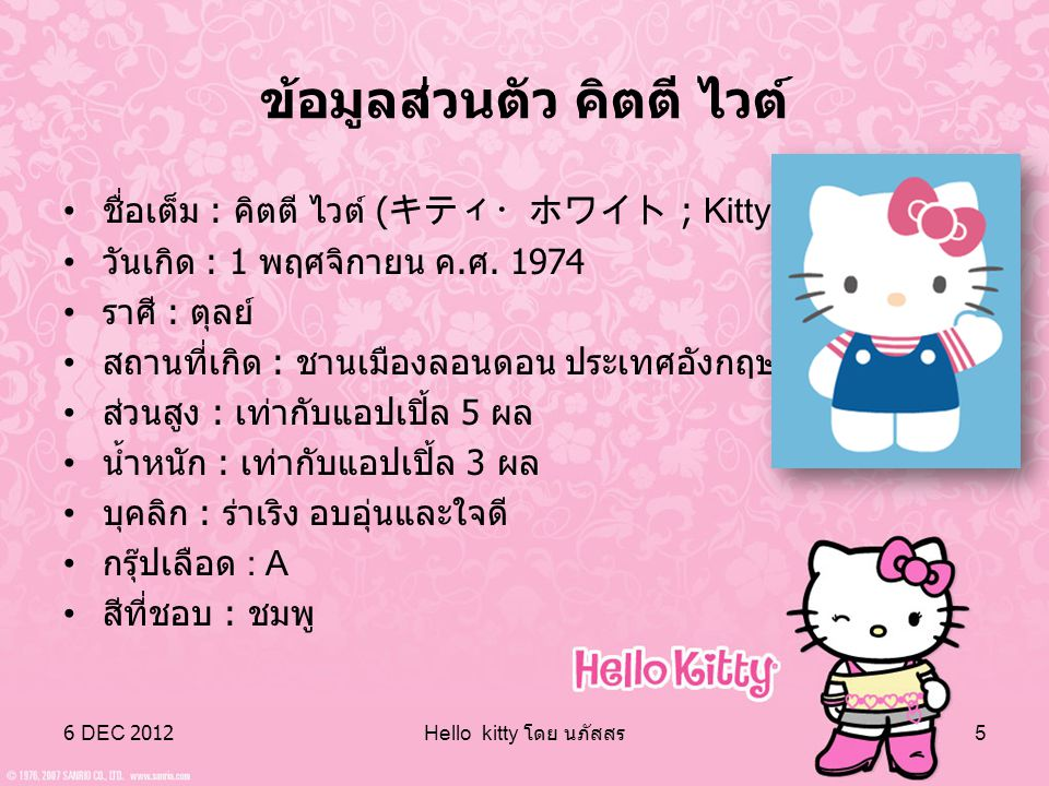 6 DEC 2012 Hello kitty โดย นภัสสร 4 ระยะเวลาทำให้ความโด่งดังของเฮลโลคิตตี้ไปทั่ว โลก และกลายมาเป็นตราสัญลักษณ์ของสินค้านานาชนิด มากมาย จนกระทั่งเกิดตั