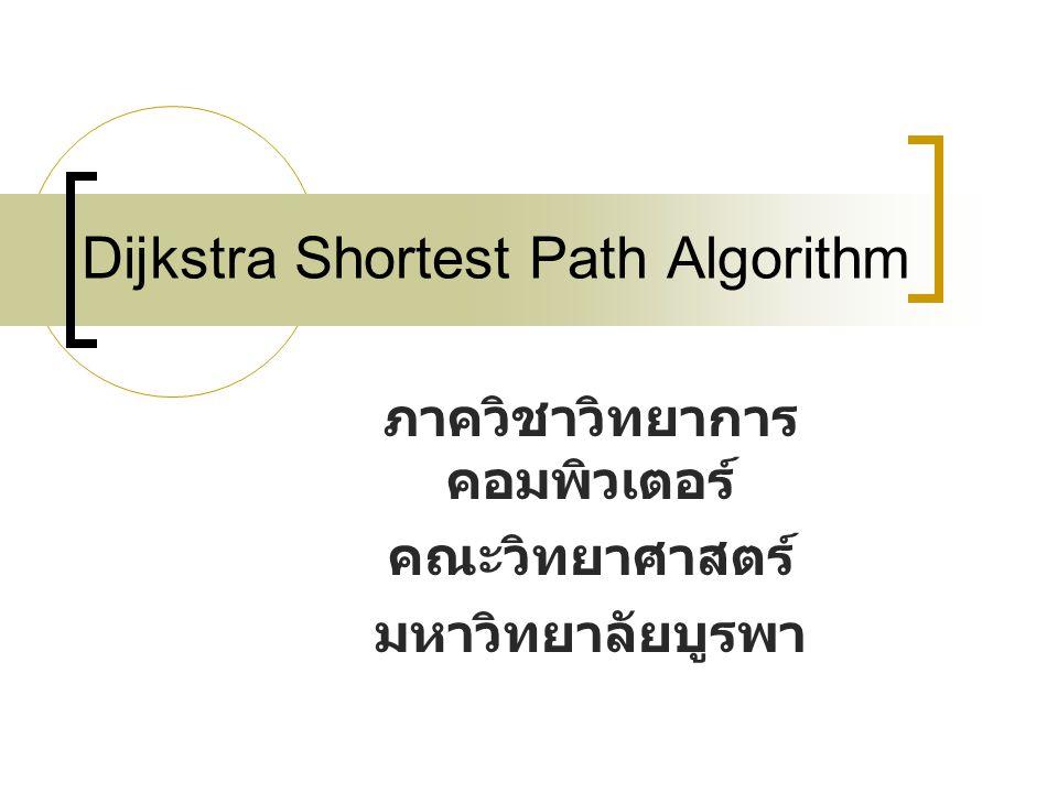 Dijkstra Shortest Path Algorithm ภาควิชาวิทยาการ คอมพิวเตอร์ คณะวิทยาศาสตร์ มหาวิทยาลัยบูรพา