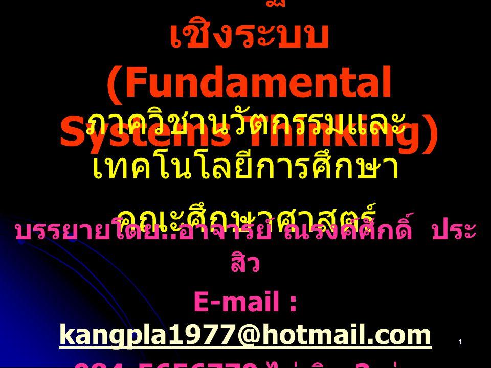 1 423103 พื้นฐานการคิด เชิงระบบ (Fundamental Systems Thinking) ภาควิชานวัตกรรมและ เทคโนโลยีการศึกษา คณะศึกษาศาสตร์ บรรยายโดย.. อาจารย์ ณรงค์ศักดิ์ ประ