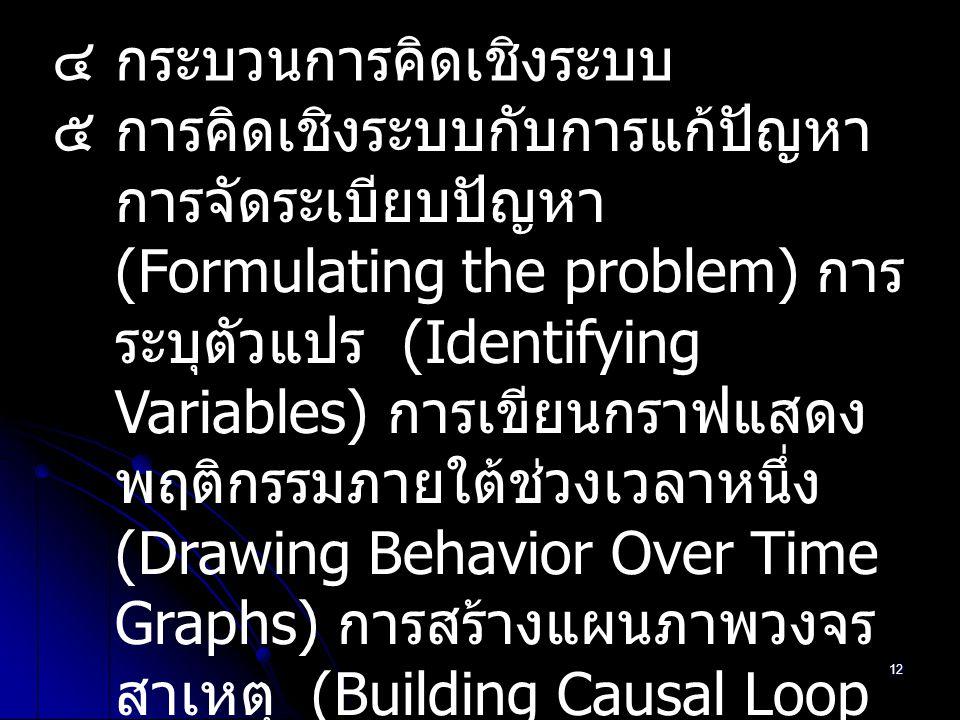 12 ๔กระบวนการคิดเชิงระบบ ๕การคิดเชิงระบบกับการแก้ปัญหา การจัดระเบียบปัญหา (Formulating the problem) การ ระบุตัวแปร (Identifying Variables) การเขียนกรา