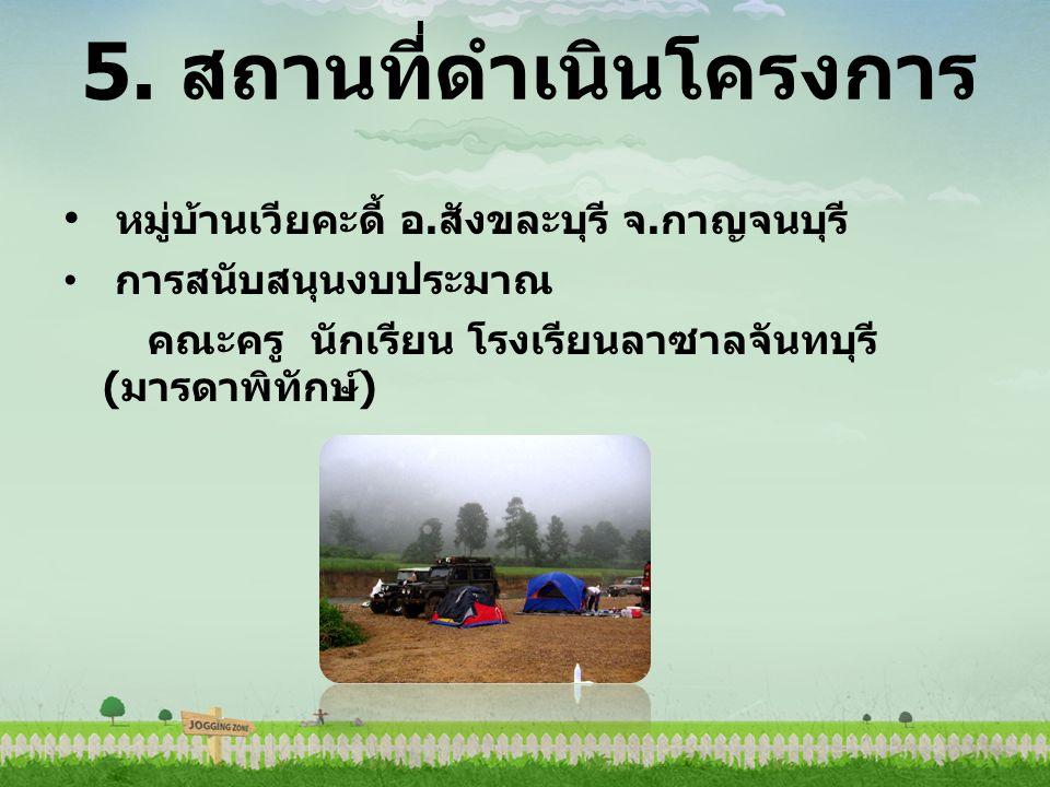5.สถานที่ดำเนินโครงการ หมู่บ้านเวียคะดี้ อ. สังขละบุรี จ.