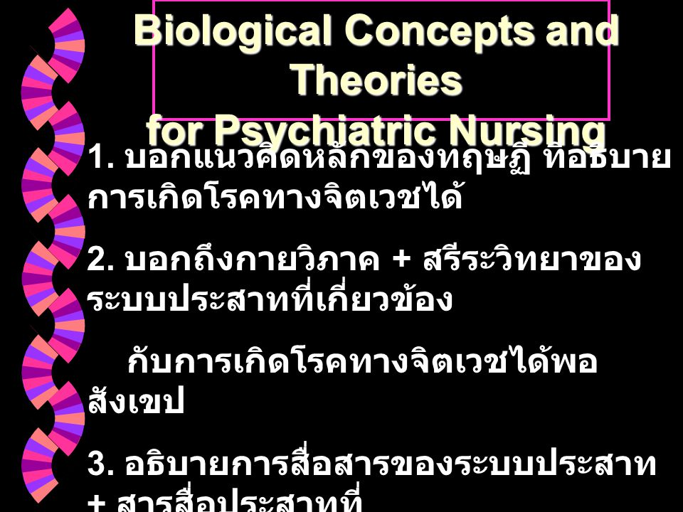 Biological Concepts and Theories for Psychiatric Nursing 1.