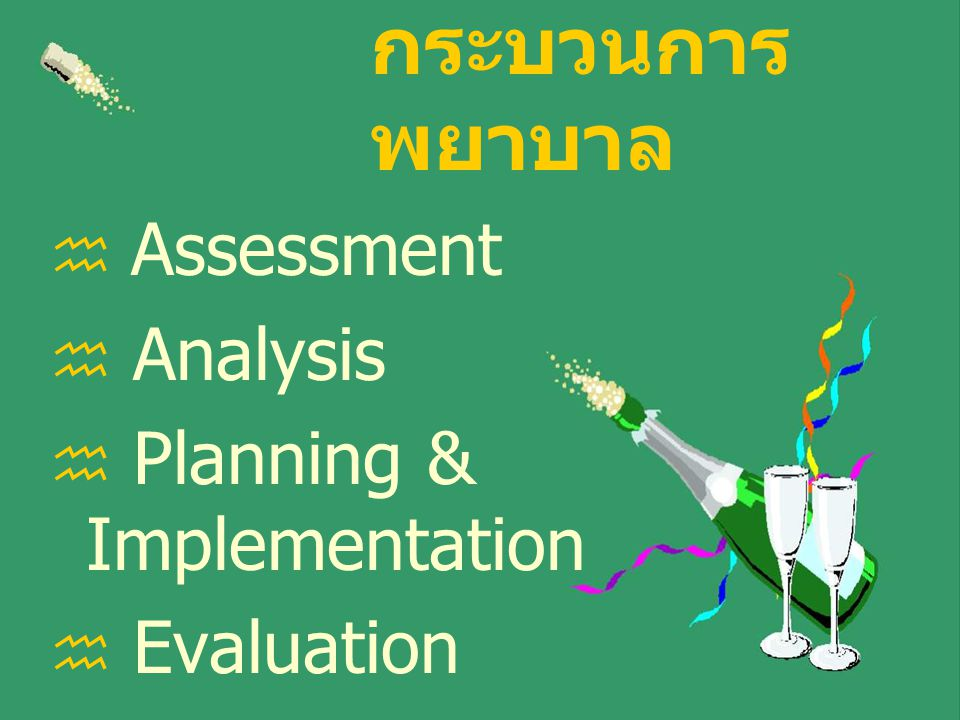 กระบวนการ พยาบาล  Assessment  Analysis  Planning & Implementation  Evaluation
