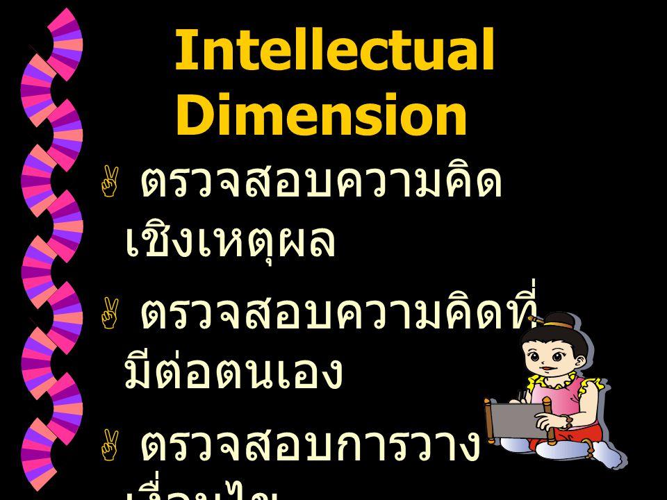Intellectual Dimension  ตรวจสอบความคิด เชิงเหตุผล  ตรวจสอบความคิดที่ มีต่อตนเอง  ตรวจสอบการวาง เงื่อนไข
