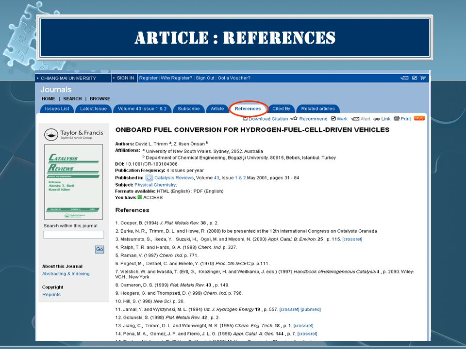 Article : References