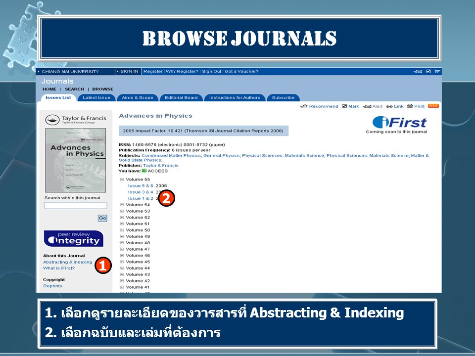 Browse Journals 1. เลือกดูรายละเอียดของวารสารที่ Abstracting & Indexing 2.
