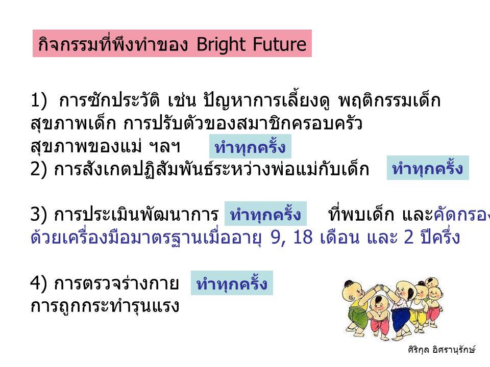 กิจกรรมที่พึงทำของ Bright Future 1)การซักประวัติ เช่น ปัญหาการเลี้ยงดู พฤติกรรมเด็ก สุขภาพเด็ก การปรับตัวของสมาชิกครอบครัว สุขภาพของแม่ ฯลฯ 2) การสังเ
