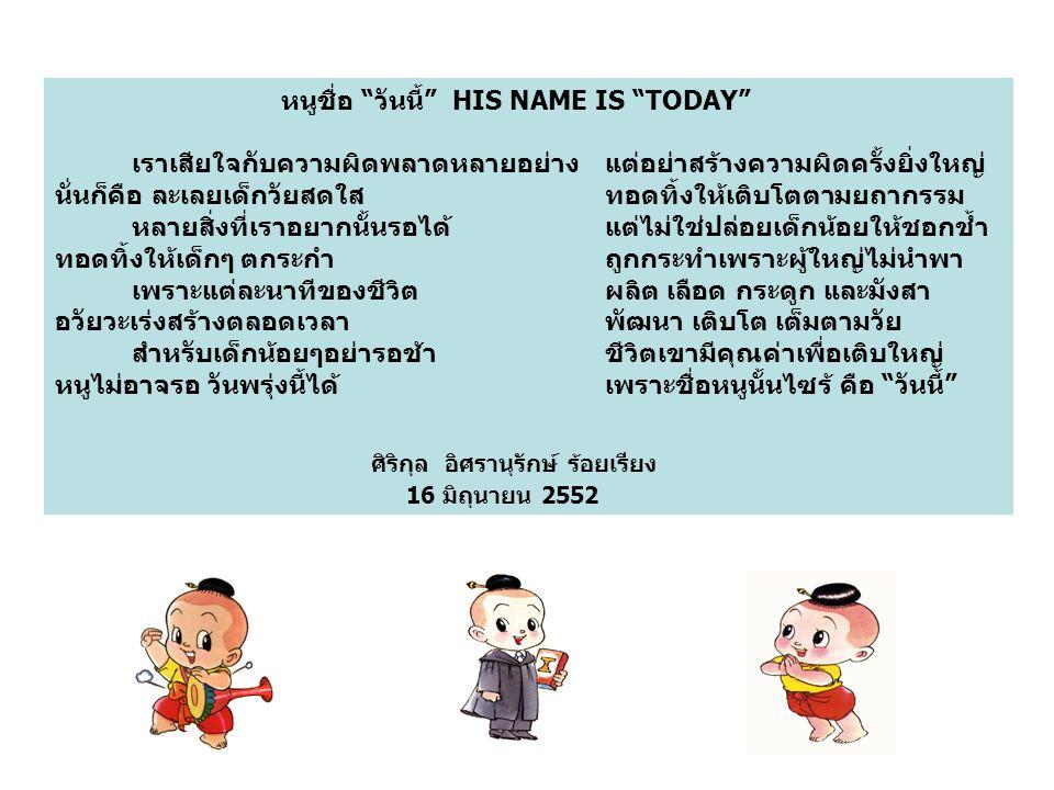 """หนูชื่อ """"วันนี้"""" HIS NAME IS """"TODAY"""" เราเสียใจกับความผิดพลาดหลายอย่าง แต่อย่าสร้างความผิดครั้งยิ่งใหญ่ นั่นก็คือ ละเลยเด็กวัยสดใส ทอดทิ้งให้เติบโตตามย"""