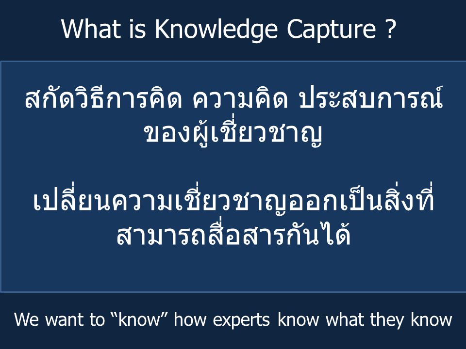 What is Knowledge Capture .