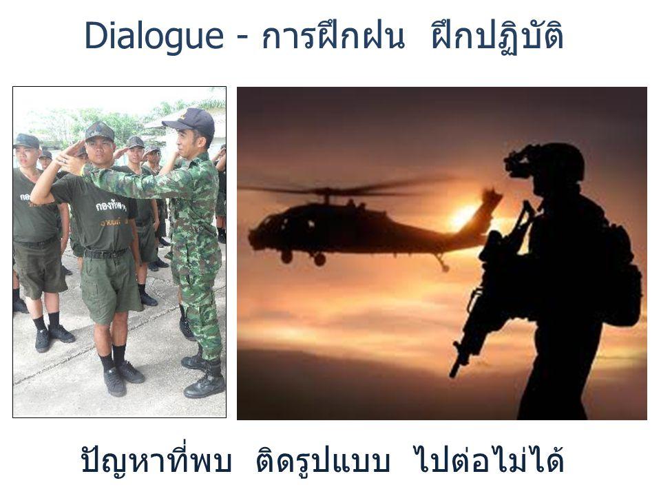 ปัญหาที่พบ ติดรูปแบบ ไปต่อไม่ได้ Dialogue - การฝึกฝน ฝึกปฏิบัติ