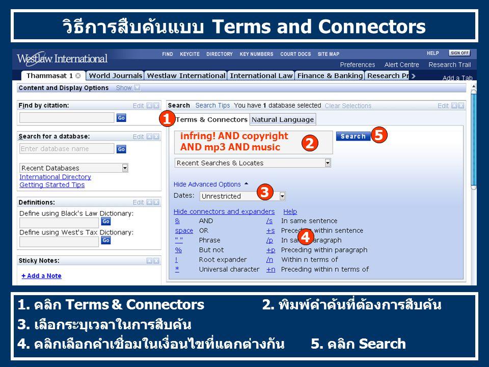 วิธีการสืบค้นแบบ Terms and Connectors 1. คลิก Terms & Connectors 2.