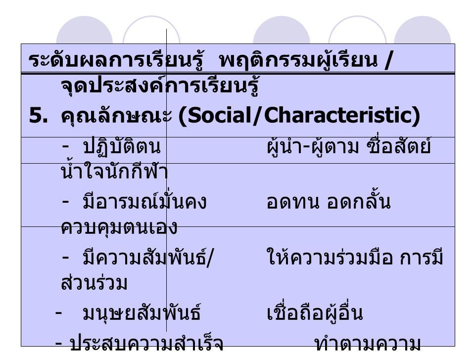 รศ. ดร. วาสนา คุณาอภิสิทธิ ระดับผลการเรียนรู้พฤติกรรมผู้เรียน / จุดประสงค์การเรียนรู้ 5. คุณลักษณะ (Social/Characteristic) - ปฏิบัติตนผู้นำ - ผู้ตาม ซ