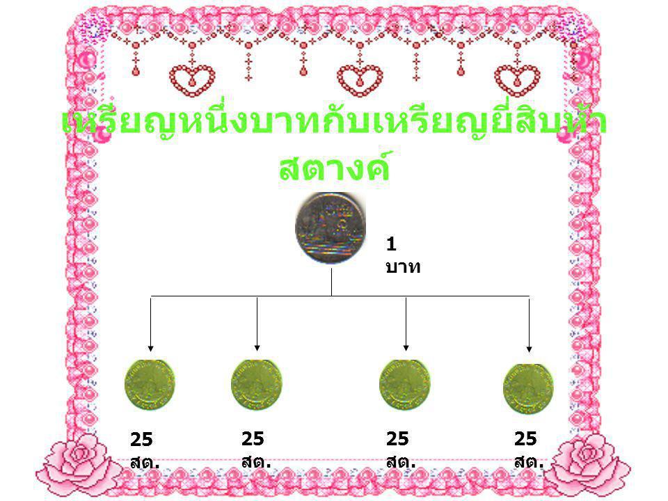 เหรียญหนึ่งบาทกับเหรียญยี่สิบห้า สตางค์ 25 สต. 1 บาท