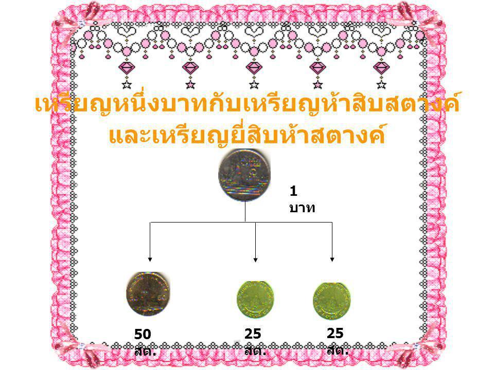 เหรียญหนึ่งบาทกับเหรียญห้าสิบสตางค์ และเหรียญยี่สิบห้าสตางค์ 25 สต. 50 สต.