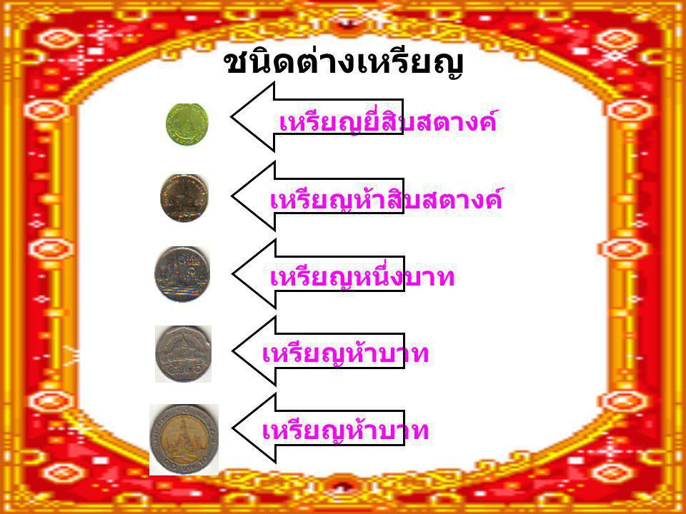ชนิดต่างเหรียญ เหรียญยี่สิบสตางค์ เหรียญห้าสิบสตางค์ เหรียญหนึ่งบาท เหรียญห้าบาท