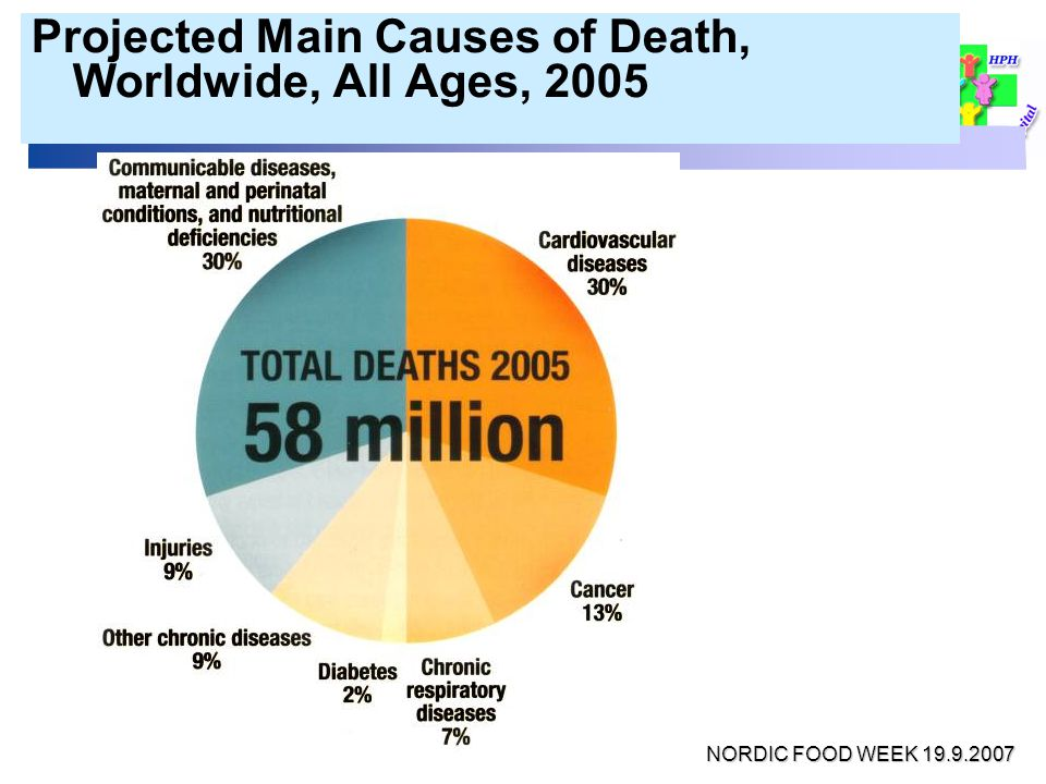 Projected Main Causes of Death, Worldwide, All Ages, 2005 NORDIC FOOD WEEK 19.9.2007