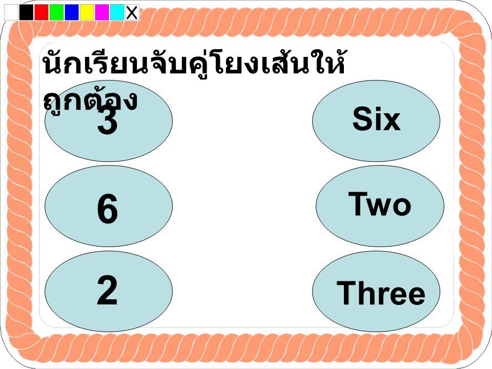 นักเรียนจับคู่โยงเส้นให้ ถูกต้อง 3 6 2 Two Six Three