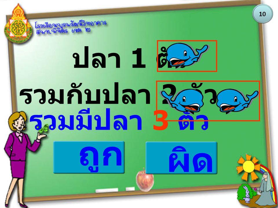 ถูก ผิด ปลา 1 ตัว รวมกับปลา 2 ตัว รวมมีปลา 3 ตัว 10