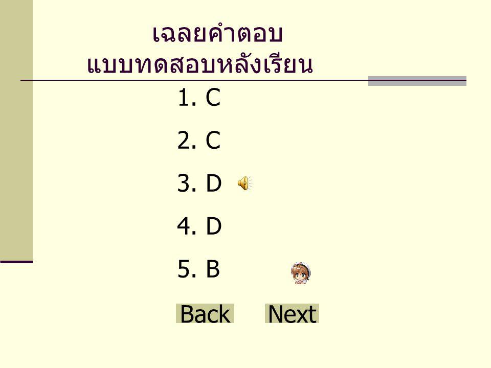เฉลยคำตอบ แบบทดสอบหลังเรียน 1.C 2.C 3.D 4.D 5.B Back Next