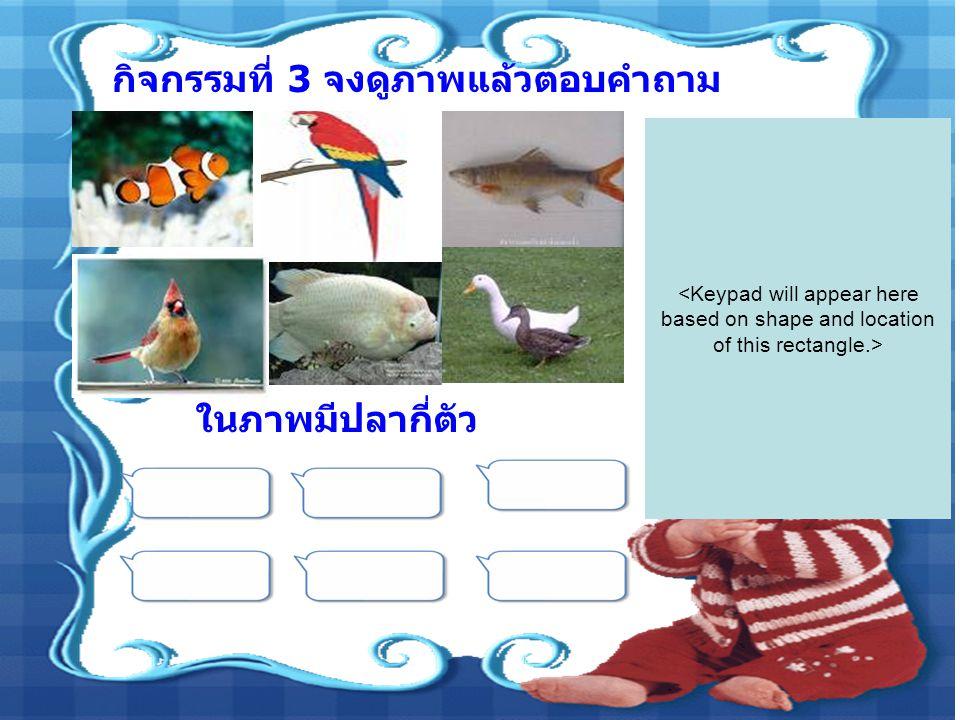 กิจกรรมที่ 3 จงดูภาพแล้วตอบคำถาม ในภาพมีปลากี่ตัว