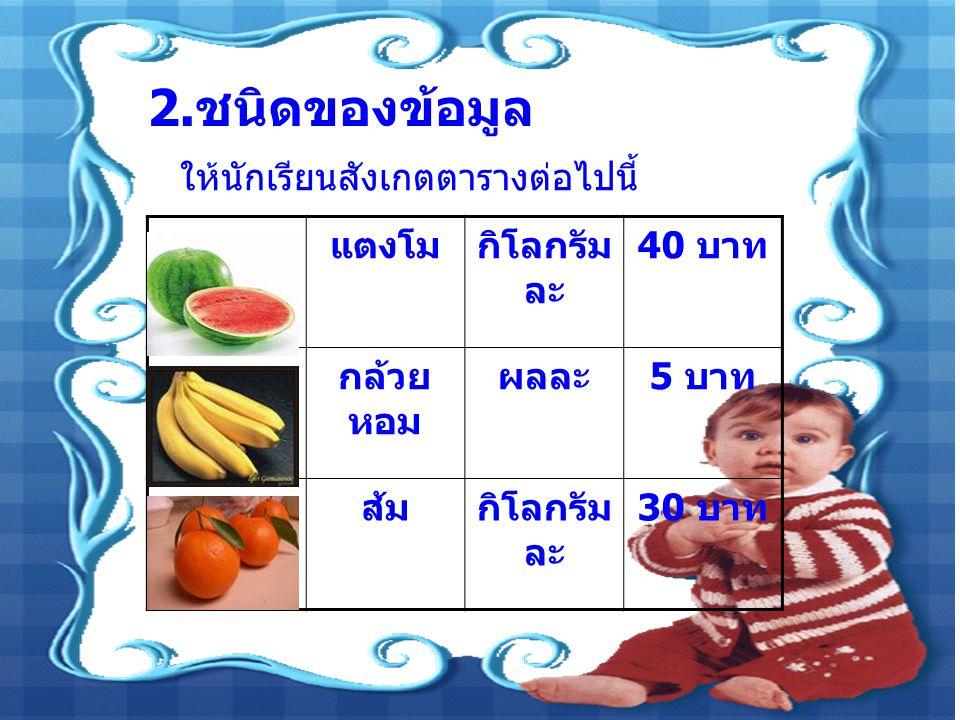 2. ชนิดของข้อมูล ให้นักเรียนสังเกตตารางต่อไปนี้ แตงโมกิโลกรัม ละ 40 บาท กล้วย หอม ผลละ 5 บาท ส้มกิโลกรัม ละ 30 บาท