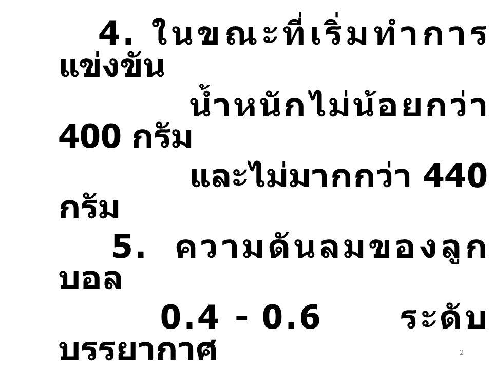 4. ในขณะที่เริ่มทำการ แข่งขัน น้ำหนักไม่น้อยกว่า 400 กรัม และไม่มากกว่า 440 กรัม 5. ความดันลมของลูก บอล 0.4 - 0.6 ระดับ บรรยากาศ (400 - 600 กรัม / ตาร
