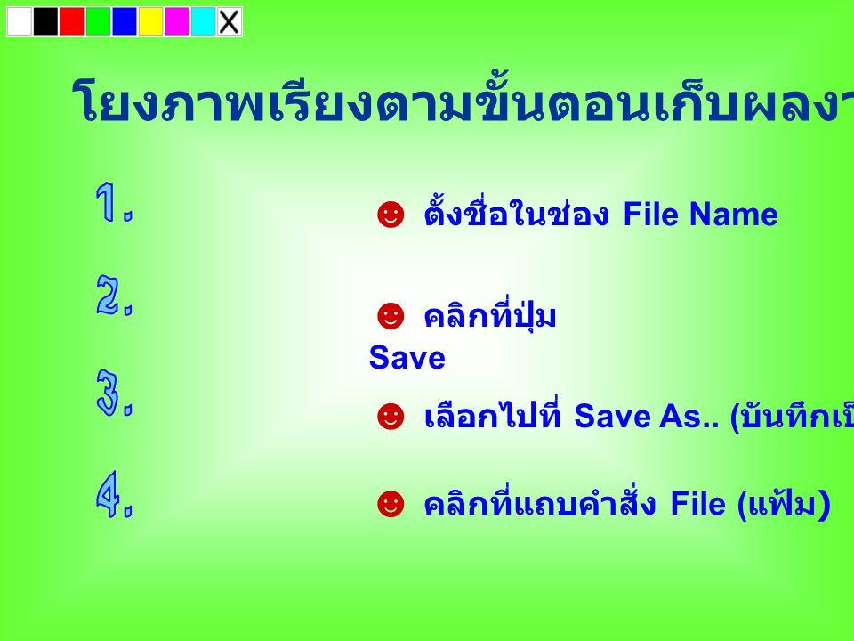 โยงภาพเรียงตามขั้นตอนเก็บผลงานเป็นไฟล์ ☻ คลิกที่แถบคำสั่ง File ( แฟ้ม ) ☻ เลือกไปที่ Save As.. ( บันทึกเป็น ) ☻ ตั้งชื่อในช่อง File Name ☻ คลิกที่ปุ่ม