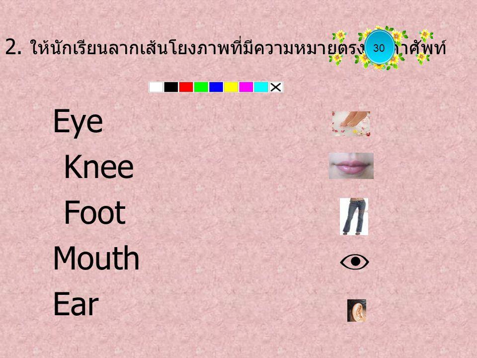 2. ให้นักเรียนลากเส้นโยงภาพที่มีความหมายตรงกับคำศัพท์ Eye Knee Foot Mouth Ear 30