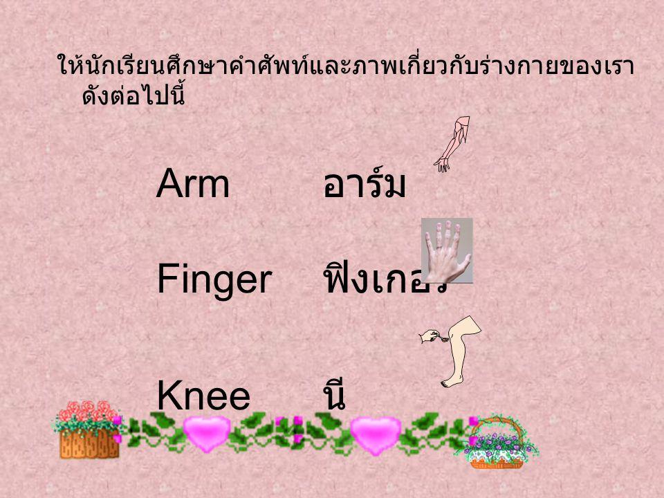 ให้นักเรียนศึกษาคำศัพท์และภาพเกี่ยวกับร่างกายของเรา ดังต่อไปนี้ Arm อาร์ม Finger ฟิงเกอร์ Knee นี