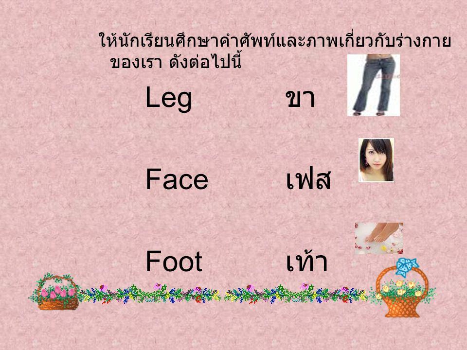 ให้นักเรียนศึกษาคำศัพท์และภาพเกี่ยวกับร่างกาย ของเรา ดังต่อไปนี้ Leg ขา Face เฟส Foot เท้า