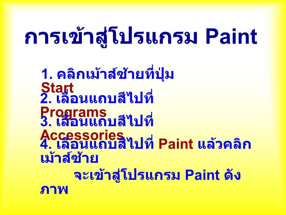 การเข้าสู่โปรแกรม Paint 1. คลิกเม้าส์ซ้ายที่ปุ่ม Start 2. เลื่อนแถบสีไปที่ Programs 3. เลื่อนแถบสีไปที่ Accessories 4. เลื่อนแถบสีไปที่ Paint แล้วคลิก