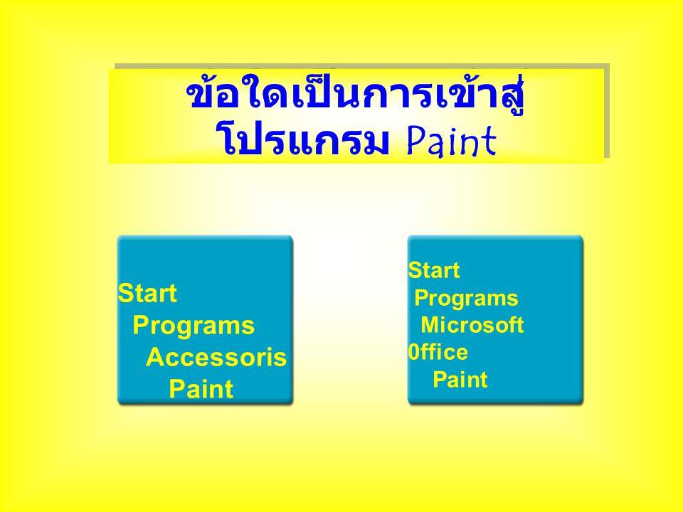 ข้อใดเป็นการเข้าสู่ โปรแกรม Paint Start Programs Accessoris Paint Start Programs Microsoft 0ffice Paint