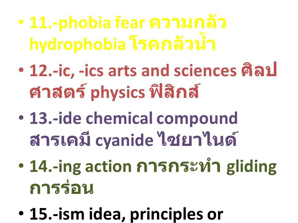 11.-phobia fear ความกลัว hydrophobia โรคกลัวน้ำ 12.-ic, -ics arts and sciences ศิลป ศาสตร์ physics ฟิสิกส์ 13.-ide chemical compound สารเคมี cyanide ไซยาไนด์ 14.-ing action การกระทำ gliding การร่อน 15.-ism idea, principles or teachings หลักการ คำสอน Buddhism พุทธศาสน