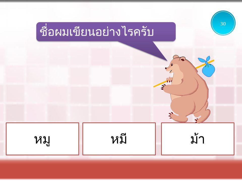 หมูหมีม้า ชื่อผมเขียนอย่างไรครับ 30