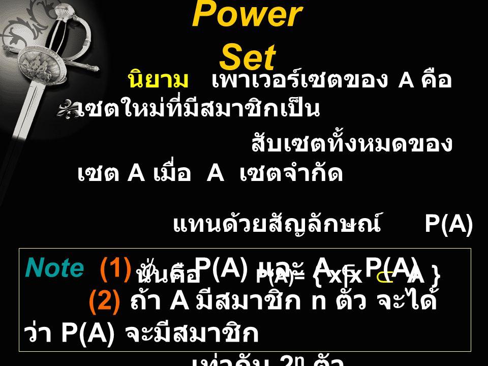 Power Set นิยาม เพาเวอร์เซตของ A คือ เซตใหม่ที่มีสมาชิกเป็น สับเซตทั้งหมดของ เซต A เมื่อ A เซตจำกัด แทนด้วยสัญลักษณ์ P(A) นั่นคือ P(A)= { x x  A } No