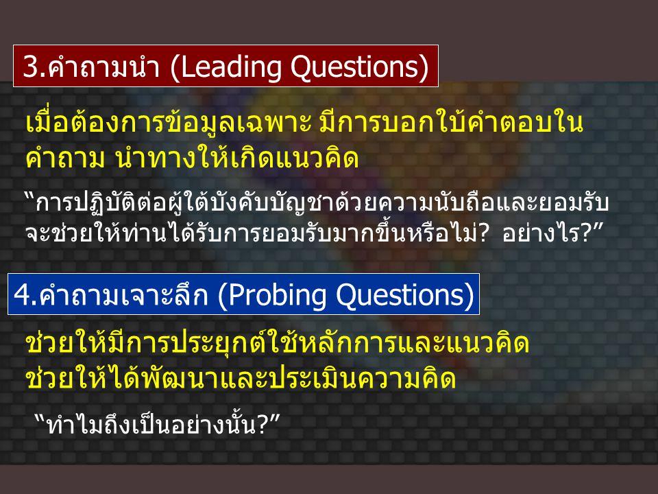 3.คำถามนำ (Leading Questions) เมื่อต้องการข้อมูลเฉพาะ มีการบอกใบ้คำตอบใน คำถาม นำทางให้เกิดแนวคิด 4.คำถามเจาะลึก (Probing Questions) ช่วยให้มีการประยุ