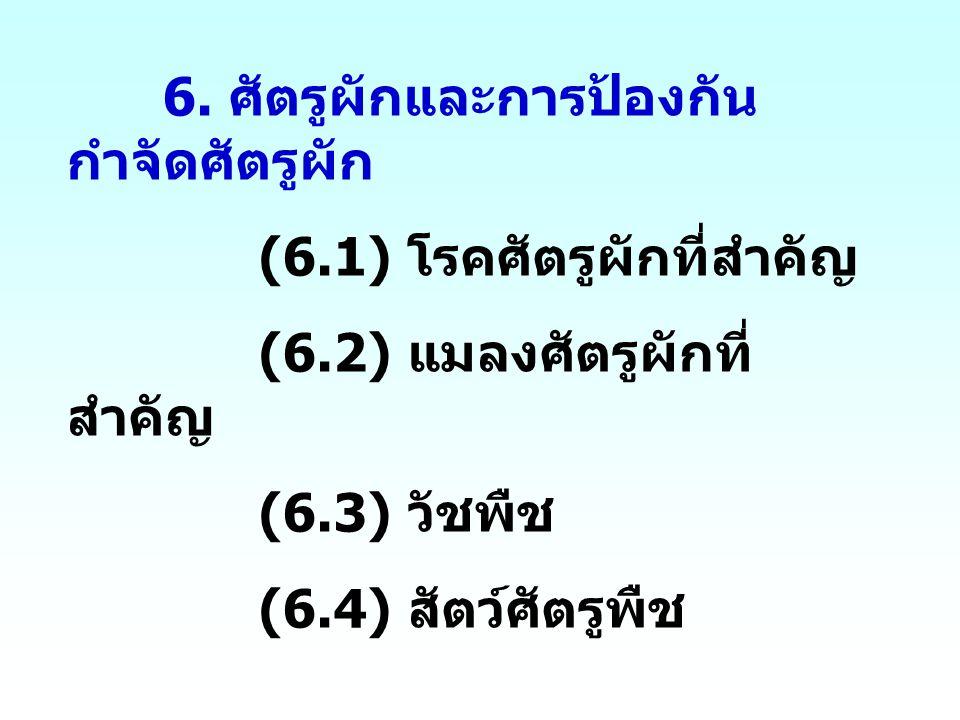 6. ศัตรูผักและการป้องกัน กำจัดศัตรูผัก (6.1) โรคศัตรูผักที่สำคัญ (6.2) แมลงศัตรูผักที่ สำคัญ (6.3) วัชพืช (6.4) สัตว์ศัตรูพืช