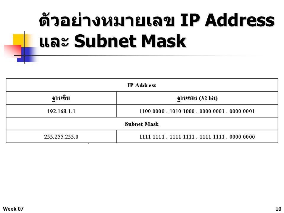 Week 0710 ตัวอย่างหมายเลข IP Address และ Subnet Mask