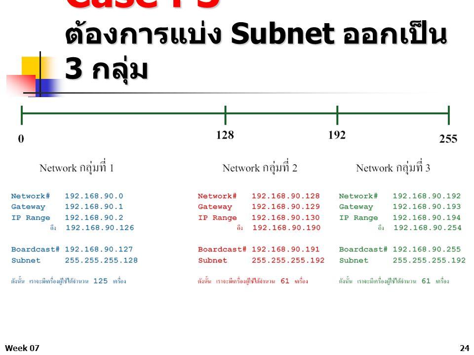 Week 0724 Case : 3 ต้องการแบ่ง Subnet ออกเป็น 3 กลุ่ม