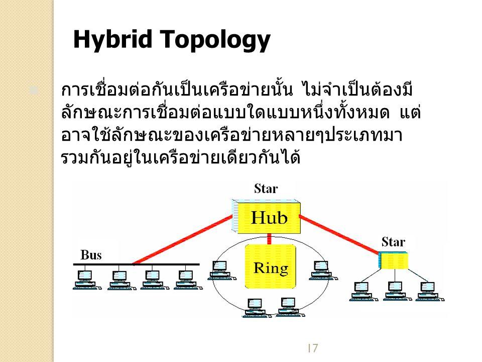 17 Hybrid Topology การเชื่อมต่อกันเป็นเครือข่ายนั้น ไม่จำเป็นต้องมี ลักษณะการเชื่อมต่อแบบใดแบบหนึ่งทั้งหมด แต่ อาจใช้ลักษณะของเครือข่ายหลายๆประเภทมา รวมกันอยู่ในเครือข่ายเดียวกันได้