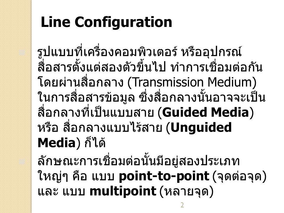 2 Line Configuration รูปแบบที่เครื่องคอมพิวเตอร์ หรืออุปกรณ์ สื่อสารตั้งแต่สองตัวขึ้นไป ทำการเชื่อมต่อกัน โดยผ่านสื่อกลาง (Transmission Medium) ในการสื่อสารข้อมูล ซึ่งสื่อกลางนั้นอาจจะเป็น สื่อกลางที่เป็นแบบสาย (Guided Media) หรือ สื่อกลางแบบไร้สาย (Unguided Media) ก็ได้ ลักษณะการเชื่อมต่อนั้นมีอยู่สองประเภท ใหญ่ๆ คือ แบบ point-to-point (จุดต่อจุด) และ แบบ multipoint (หลายจุด)