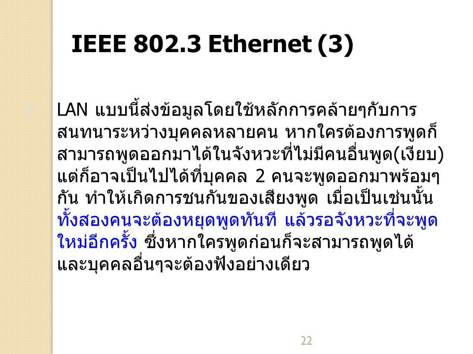 22 IEEE 802.3 Ethernet (3) LAN แบบนี้ส่งข้อมูลโดยใช้หลักการคล้ายๆกับการ สนทนาระหว่างบุคคลหลายคน หากใครต้องการพูดก็ สามารถพูดออกมาได้ในจังหวะที่ไม่มีคนอื่นพูด(เงียบ) แต่ก็อาจเป็นไปได้ที่บุคคล 2 คนจะพูดออกมาพร้อมๆ กัน ทำให้เกิดการชนกันของเสียงพูด เมื่อเป็นเช่นนั้น ทั้งสองคนจะต้องหยุดพูดทันที แล้วรอจังหวะที่จะพูด ใหม่อีกครั้ง ซึ่งหากใครพูดก่อนก็จะสามารถพูดได้ และบุคคลอื่นๆจะต้องฟังอย่างเดียว