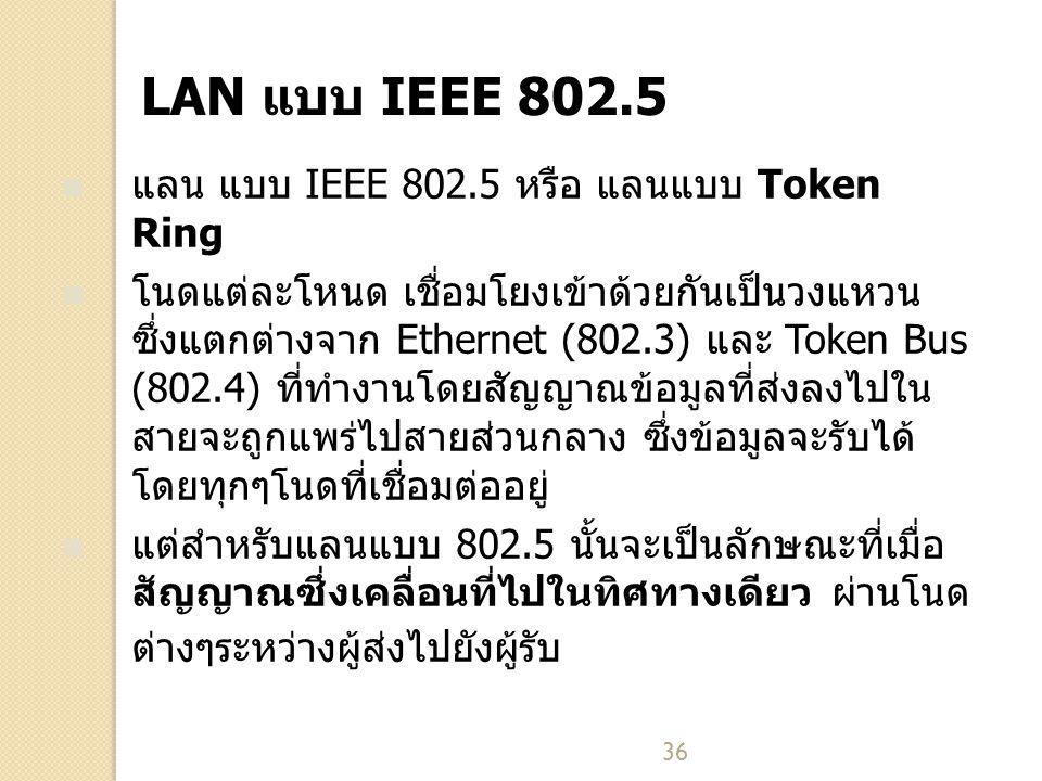 36 LAN แบบ IEEE 802.5 แลน แบบ IEEE 802.5 หรือ แลนแบบ Token Ring โนดแต่ละโหนด เชื่อมโยงเข้าด้วยกันเป็นวงแหวน ซึ่งแตกต่างจาก Ethernet (802.3) และ Token Bus (802.4) ที่ทำงานโดยสัญญาณข้อมูลที่ส่งลงไปใน สายจะถูกแพร่ไปสายส่วนกลาง ซึ่งข้อมูลจะรับได้ โดยทุกๆโนดที่เชื่อมต่ออยู่ แต่สำหรับแลนแบบ 802.5 นั้นจะเป็นลักษณะที่เมื่อ สัญญาณซึ่งเคลื่อนที่ไปในทิศทางเดียว ผ่านโนด ต่างๆระหว่างผู้ส่งไปยังผู้รับ