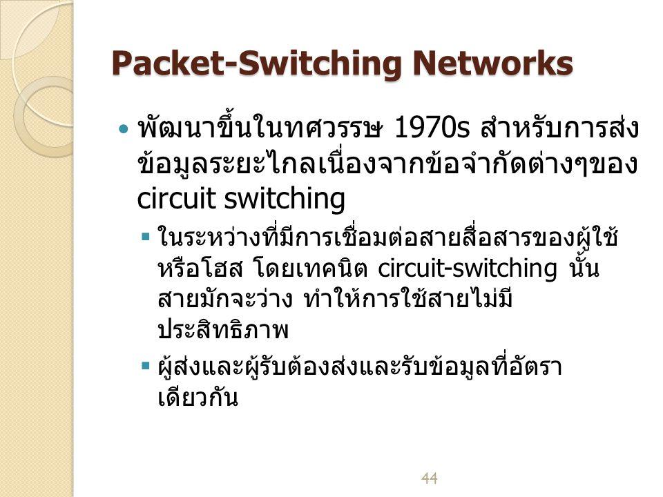44 Packet-Switching Networks พัฒนาขึ้นในทศวรรษ 1970s สำหรับการส่ง ข้อมูลระยะไกลเนื่องจากข้อจำกัดต่างๆของ circuit switching  ในระหว่างที่มีการเชื่อมต่อสายสื่อสารของผู้ใช้ หรือโฮส โดยเทคนิต circuit-switching นั้น สายมักจะว่าง ทำให้การใช้สายไม่มี ประสิทธิภาพ  ผู้ส่งและผู้รับต้องส่งและรับข้อมูลที่อัตรา เดียวกัน