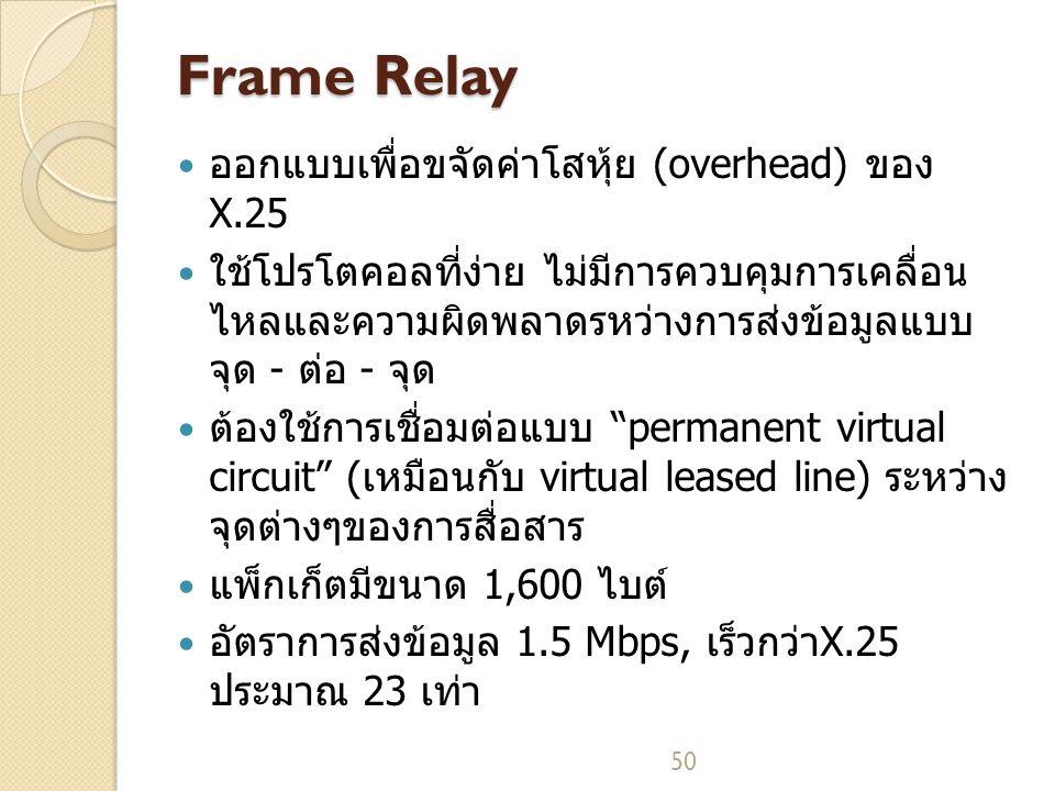 50 Frame Relay ออกแบบเพื่อขจัดค่าโสหุ้ย (overhead) ของ X.25 ใช้โปรโตคอลที่ง่าย ไม่มีการควบคุมการเคลื่อน ไหลและความผิดพลาดรหว่างการส่งข้อมูลแบบ จุด - ต่อ - จุด ต้องใช้การเชื่อมต่อแบบ permanent virtual circuit (เหมือนกับ virtual leased line) ระหว่าง จุดต่างๆของการสื่อสาร แพ็กเก็ตมีขนาด 1,600 ไบต์ อัตราการส่งข้อมูล 1.5 Mbps, เร็วกว่าX.25 ประมาณ 23 เท่า