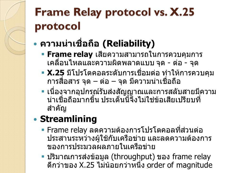 51 Frame Relay protocol vs.