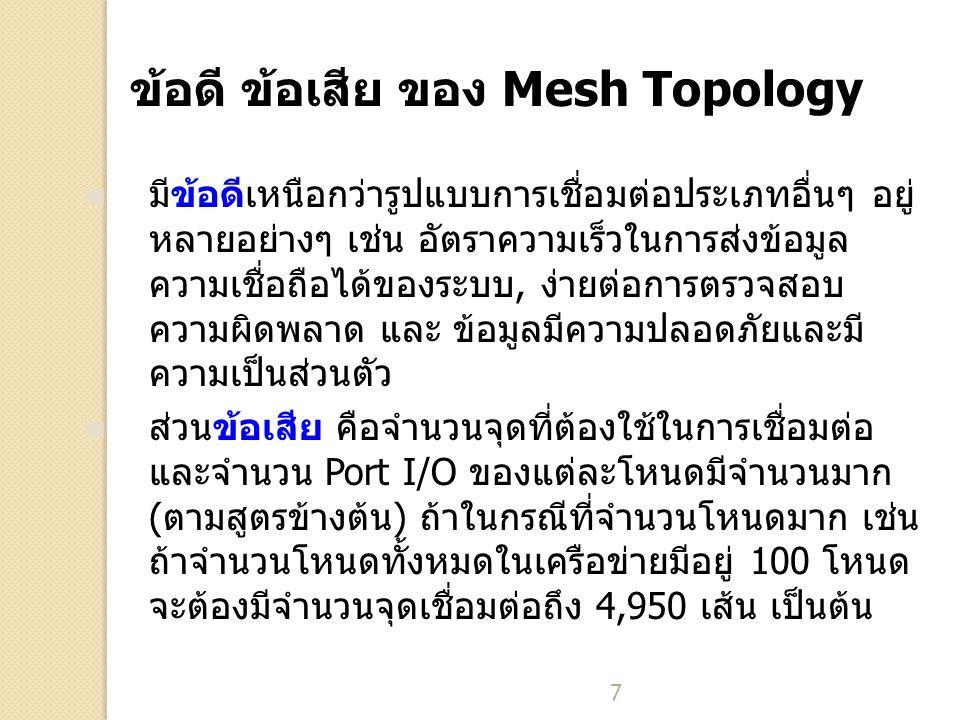 7 ข้อดี ข้อเสีย ของ Mesh Topology มีข้อดีเหนือกว่ารูปแบบการเชื่อมต่อประเภทอื่นๆ อยู่ หลายอย่างๆ เช่น อัตราความเร็วในการส่งข้อมูล ความเชื่อถือได้ของระบบ, ง่ายต่อการตรวจสอบ ความผิดพลาด และ ข้อมูลมีความปลอดภัยและมี ความเป็นส่วนตัว ส่วนข้อเสีย คือจำนวนจุดที่ต้องใช้ในการเชื่อมต่อ และจำนวน Port I/O ของแต่ละโหนดมีจำนวนมาก (ตามสูตรข้างต้น) ถ้าในกรณีที่จำนวนโหนดมาก เช่น ถ้าจำนวนโหนดทั้งหมดในเครือข่ายมีอยู่ 100 โหนด จะต้องมีจำนวนจุดเชื่อมต่อถึง 4,950 เส้น เป็นต้น