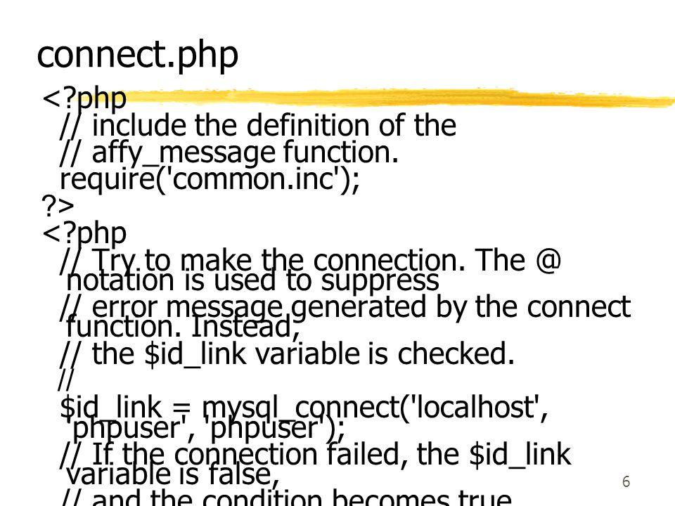 17 ฟังก์ชันของภาษา PHP ที่ สนับสนุน MySQL  Mysql_affected_rows- เป็นการหาจำนวน แถวที่มีในการใช้ครั้งสุดท้าย  Int mysql_affected_rows(int link_identifier)  Mysql_close- เป็นการปิดการเชื่อมต่อกับ MySQL  Int mysql_close(int link_identfier);  Mysql_connect- เป็นการเปิดการเชื่อมต่อกับ MySQL Server  Int mysql_connect( string hostname, string username, string password);