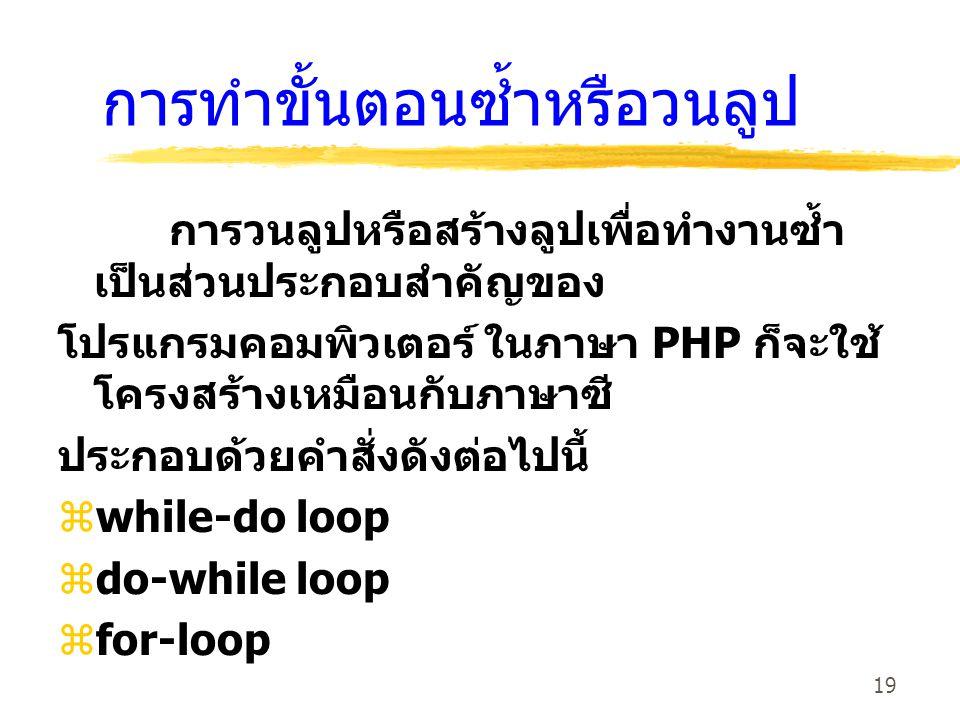 19 การทำขั้นตอนซ้ำหรือวนลูป การวนลูปหรือสร้างลูปเพื่อทำงานซ้ำ เป็นส่วนประกอบสำคัญของ โปรแกรมคอมพิวเตอร์ ในภาษา PHP ก็จะใช้ โครงสร้างเหมือนกับภาษาซี ปร