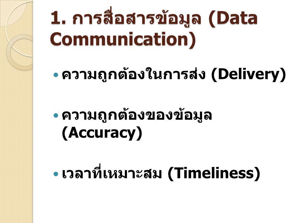 1. การสื่อสารข้อมูล (Data Communication) ความถูกต้องในการส่ง (Delivery) ความถูกต้องของข้อมูล (Accuracy) เวลาที่เหมาะสม (Timeliness)